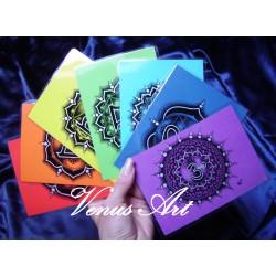ČAKRY - sada 7 kartiček /barevný podklad/