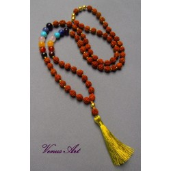 Čakrový náhrdelník RUDRAKSHA zlatý