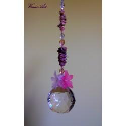 Feng shui koule-minerály XXL bílo-tm.růžové kvítky