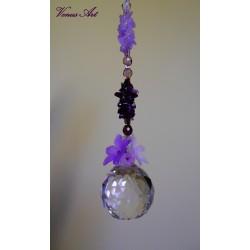 Feng shui koule s minerály XXL kvítky bílo-fialové