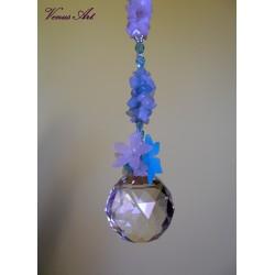 Feng shui koule s minerály XXL kvítky bílo-modré