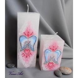 Malovaná svíčka LÁSKA hranol