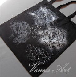 Malovaná nákupní taška mandala s kamínky !SLEVA!